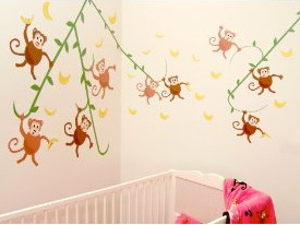 Go Bananas! CuteyBaby Monkey Wall Decals