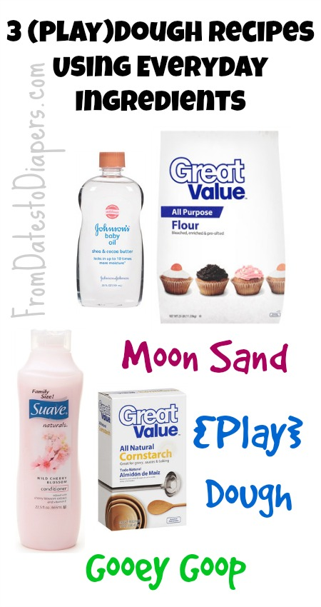 3 Play Dough Recipes Using Everyday Ingredients   Moon Sand, Play Dough, & Gooey Goop